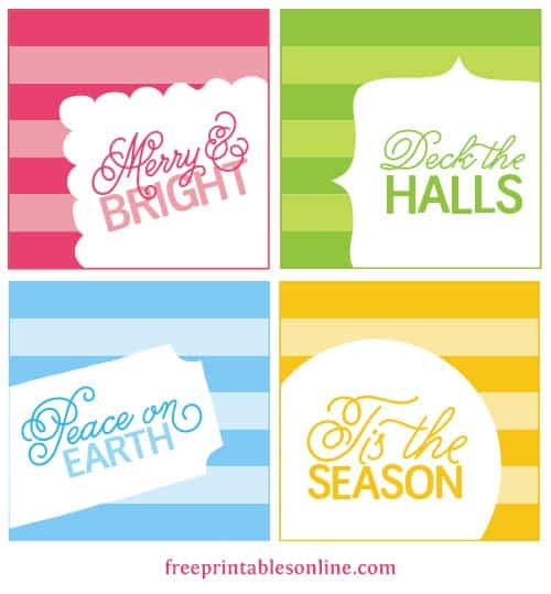 Here's a set of four Christmas printables, some freebie gift tags ...