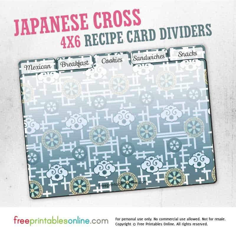 Japanese Cross Printable 4x6 Recipe Card Dividers Free