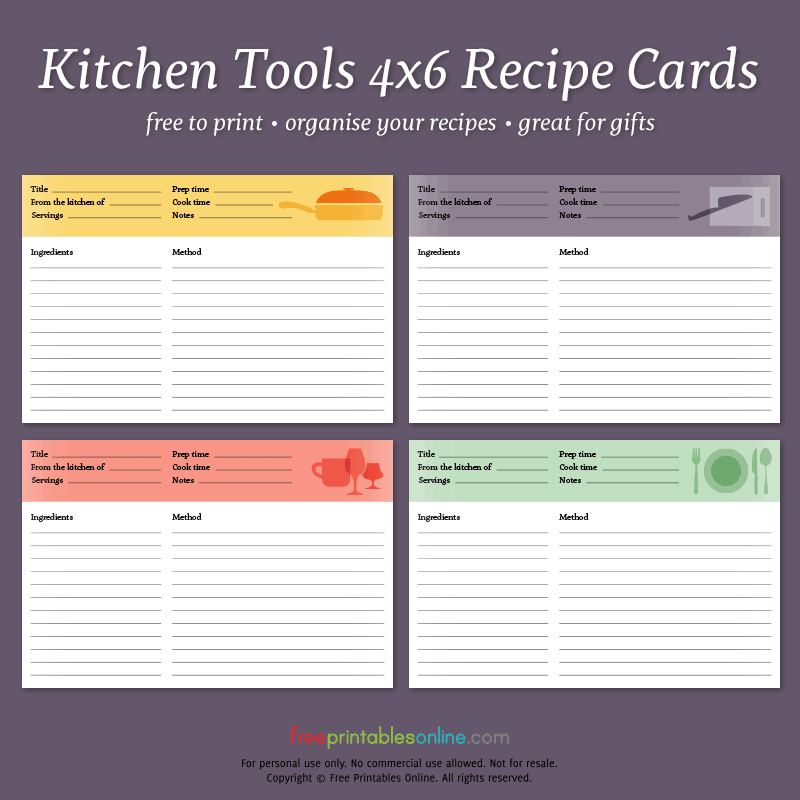 Kitchen Tools Printable 4x6 Recipe Cards Free Printables