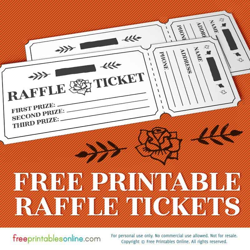 printable rosy raffle tickets  free raffle template