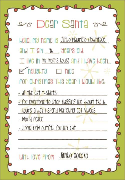 free printable dear santa christmas gift list template