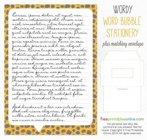 Wordy Word Bubble Printable Stationery Set