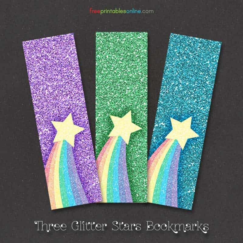 free rainbow glitter bookmarks