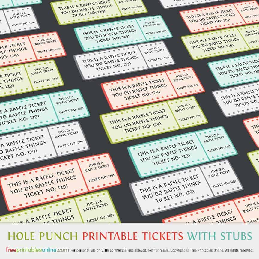 hole punch printable raffle tickets with stubs