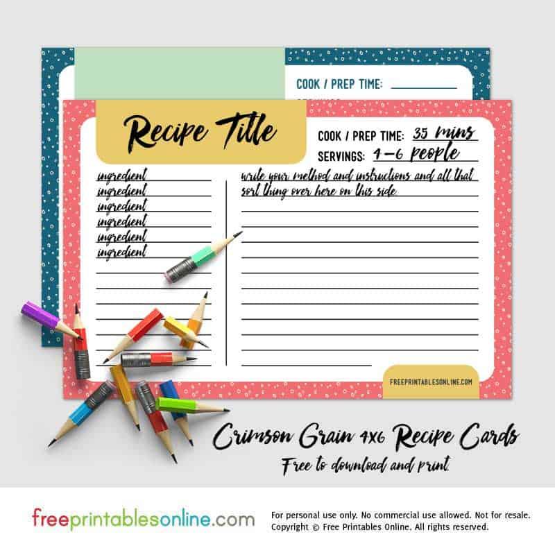 crimson grain printable 4x6 recipe cards