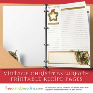 Vintage Christmas Wreath Recipe Page