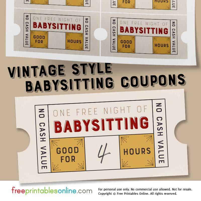 Vintage Style Free Babysitting Coupon Template - Free ...