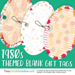 1980s Pattern Blank Gift Tags