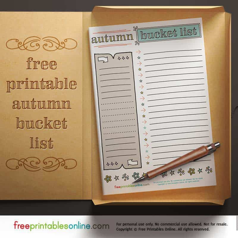 2017 Printable Bucket List for Fall - Free Printables Online