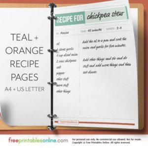 Teal + Orange Printable Full Page Recipe Template