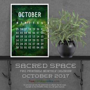 Sacred Outer Space October 2017 Calendar