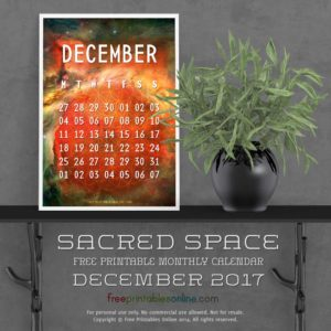 Sacred Outer Space December 2017 Calendar