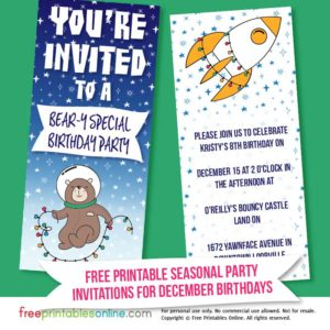 Space Themed December Birthday Party Invitation