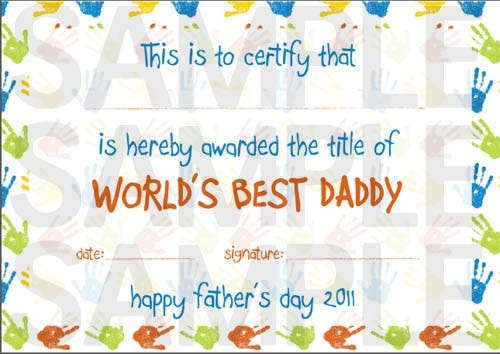 World's Best Daddy Father's Day Certificate