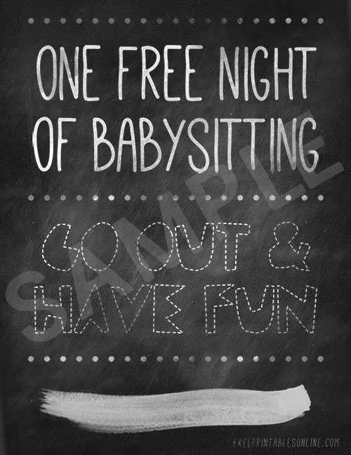 picture relating to Free Printable Babysitting Coupons referred to as Printable No cost Babysitting Voucher