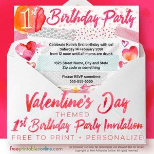 Valentine's Day 1st Birthday Party Invitations