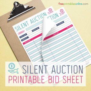 Silent Auction Bidding Sheet