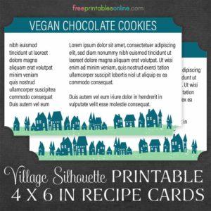 Village Silhouette 4x6 Recipe Cards