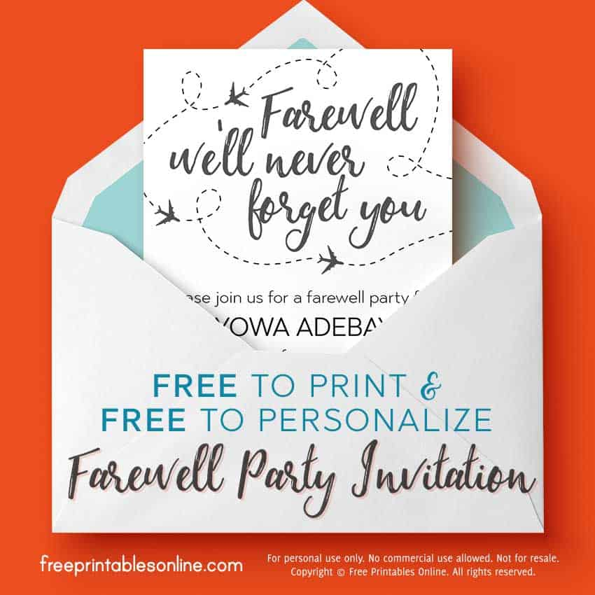 we u0026 39 ll never forget you farewell invitation