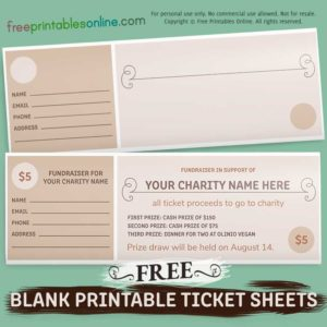 free blank printable tickets sheets