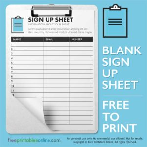 Printable Sign Up Sheet