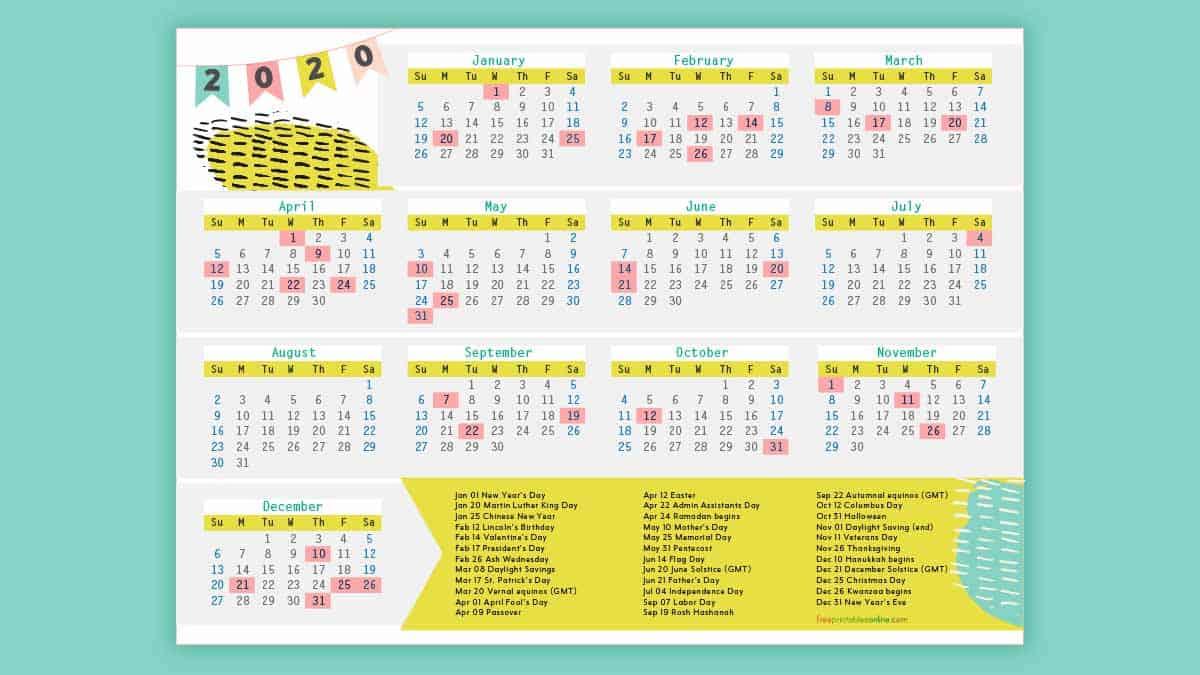 Free Printable 2020 Calendar With Holidays.Free Printable 2020 Calendar With Holidays Free Printables
