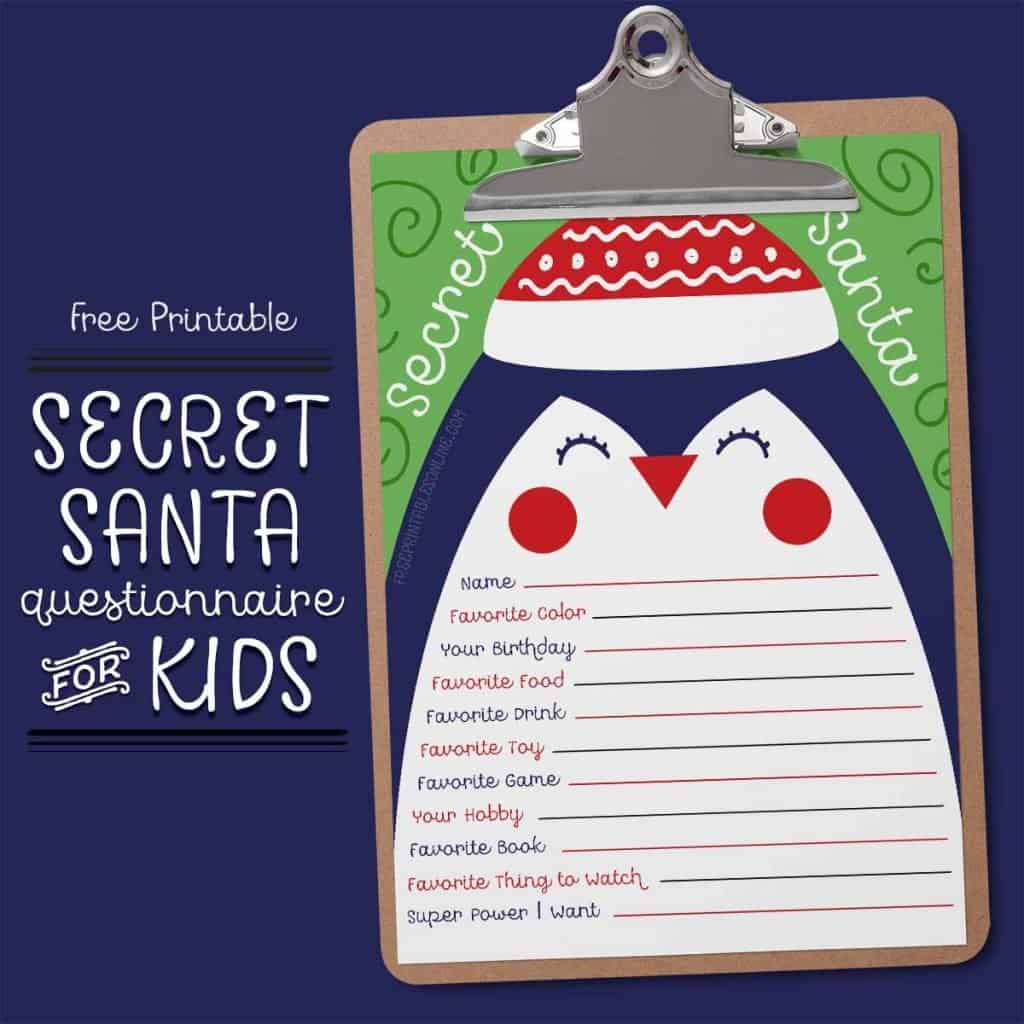 Secret Santa Questionnaire for Kids
