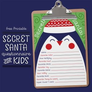 Secret Santa Questionnaire for Kids