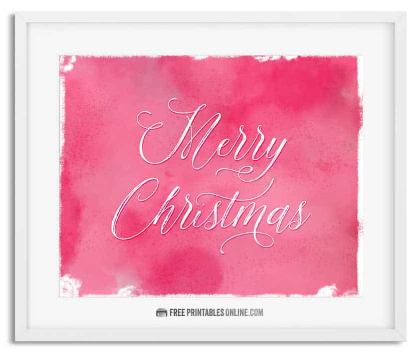 Printable Watercolor Merry Christmas Wall Art